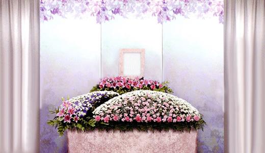 はるかの家族葬「想(おもい)プラン」生花祭壇/幅1.8m(2段)