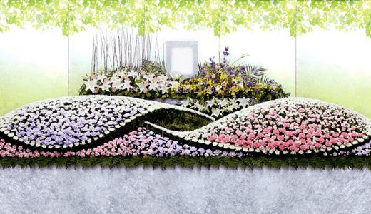 はるかの家族葬「輝(ひかり)プラン」生花祭壇/幅4.8m(3段)